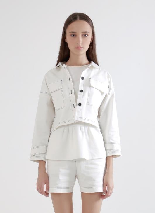 Wastu Beam Cropped Jacket - White