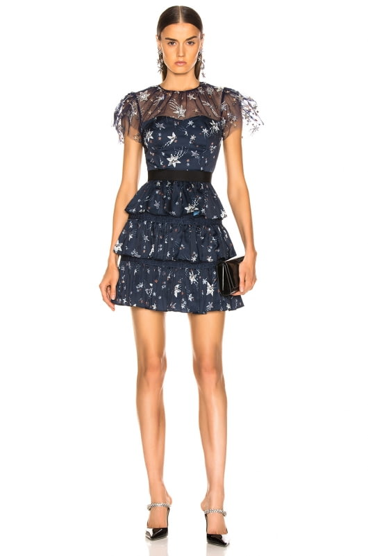 self-portrait Tiered Star Mesh Printed Mini Dress