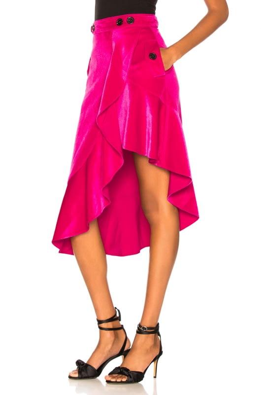 self-portrait Flounced Velvet Skirt