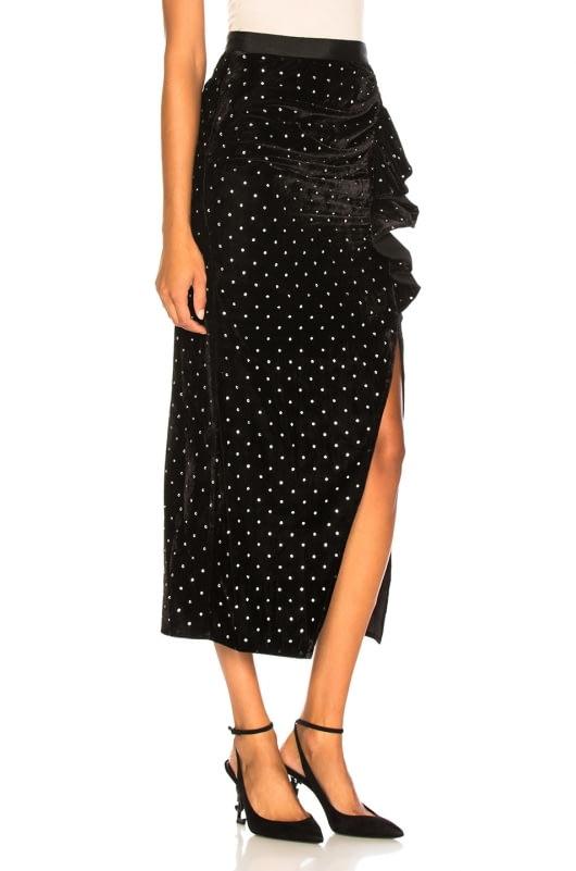 self-portrait Velvet Diamante Ruffle Skirt