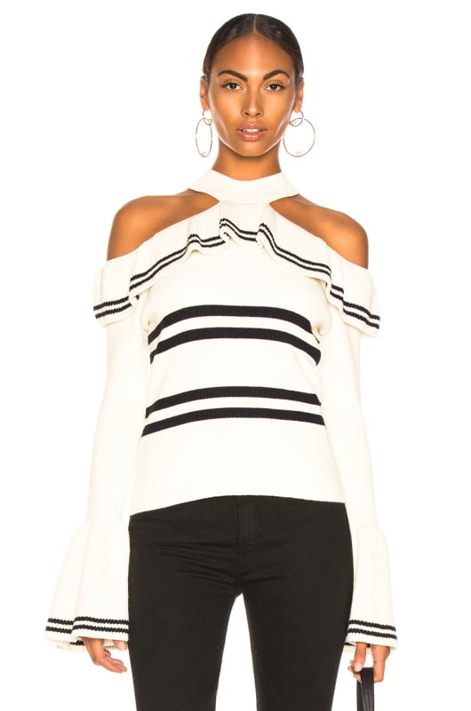 self-portrait Striped Frill Knit Sweater