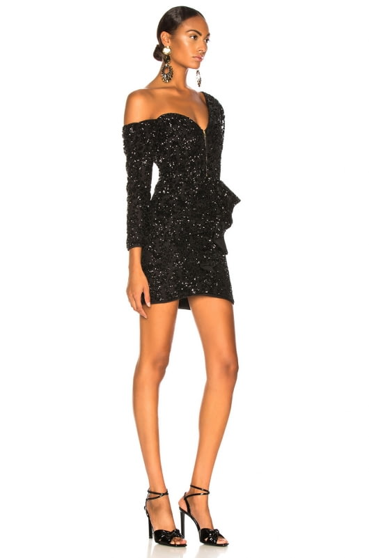 self-portrait Sequin Ruffle Mini Dress