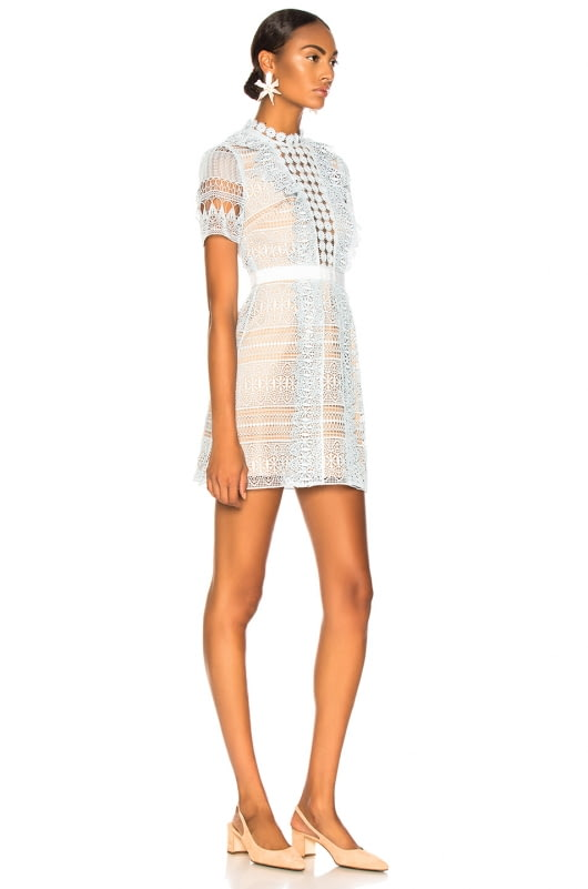 self-portrait Spiral Panel Lace Mini Dress
