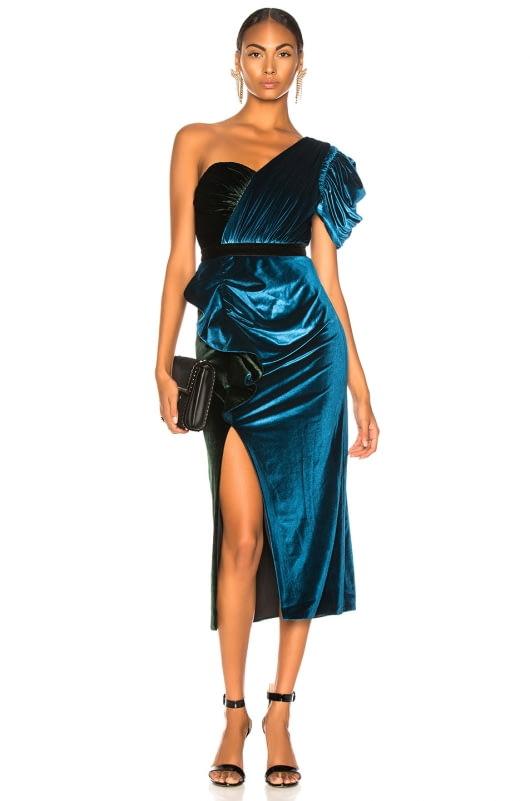 self-portrait One Shoulder Velvet Midi Dress