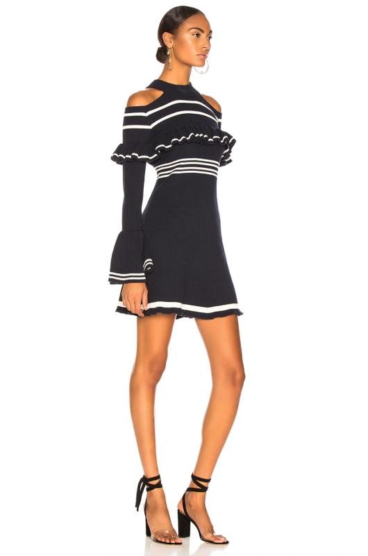 self-portrait Striped Frill Knit Dress