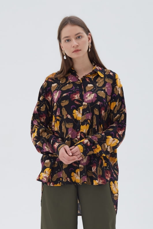 Shopatvelvet Dark Floral Long Shirt