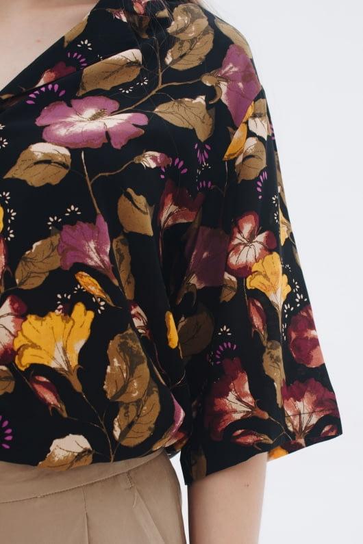 Shopatvelvet Dark Floral Bowling Shirt