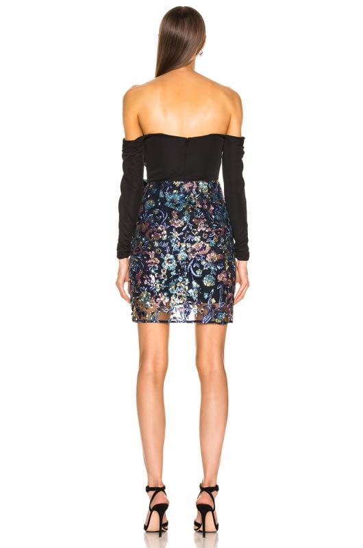self-portrait Off Shoulder Floral Sequin Embellished Dress