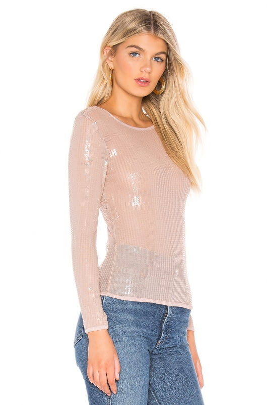 Free People Diamond Eyes Sequin Long Sleeve Top