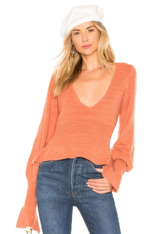 For Love & Lemons Davis Peplum Sweater