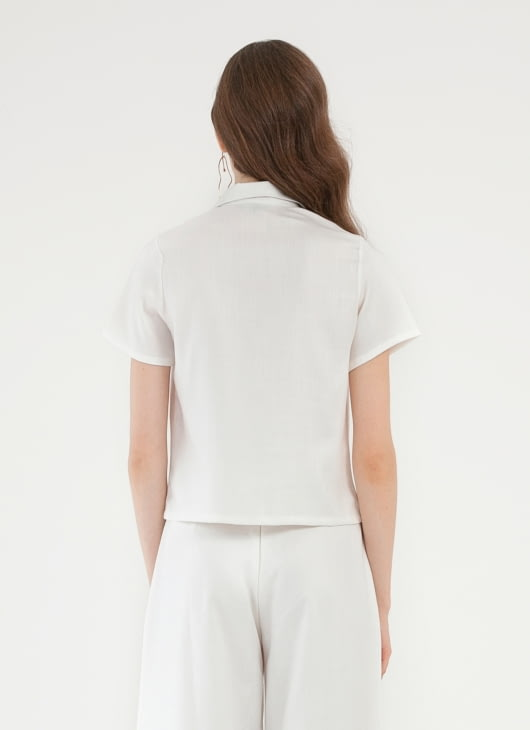 CLOTH INC Hibi Cropped Shirt - White
