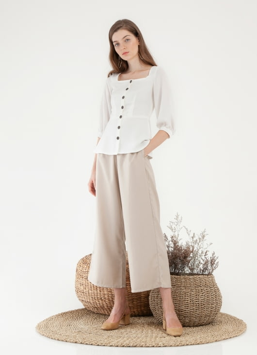CLOTH INC Sora Button Top - White