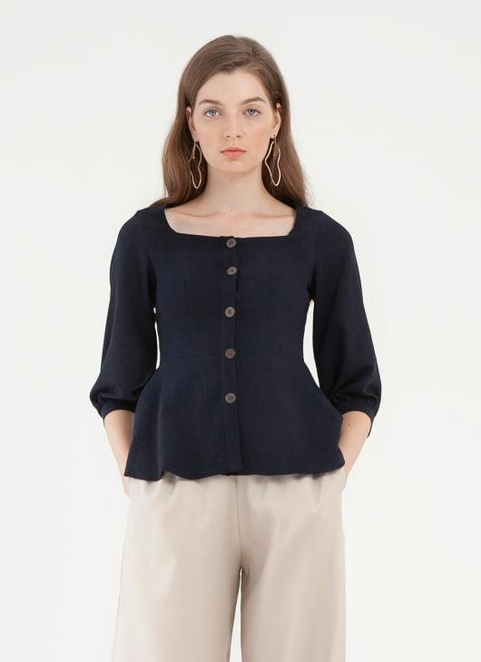 CLOTH INC Sora Button Top - Navy