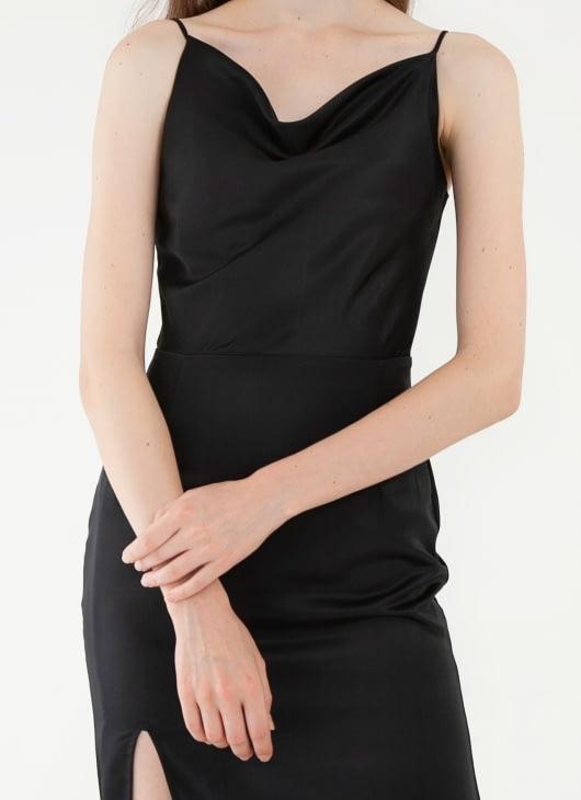 CLOTH INC Drapery Slit Dress - Black
