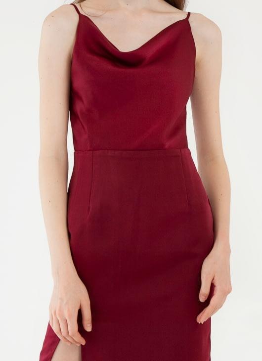 CLOTH INC Drapery Slit Dress - Maroon