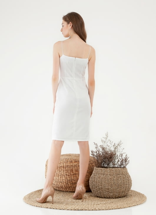CLOTH INC Drapery Slit Dress - White