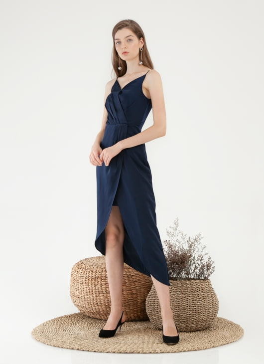 CLOTH INC Asymmetric Tulip Midi Dress - Navy