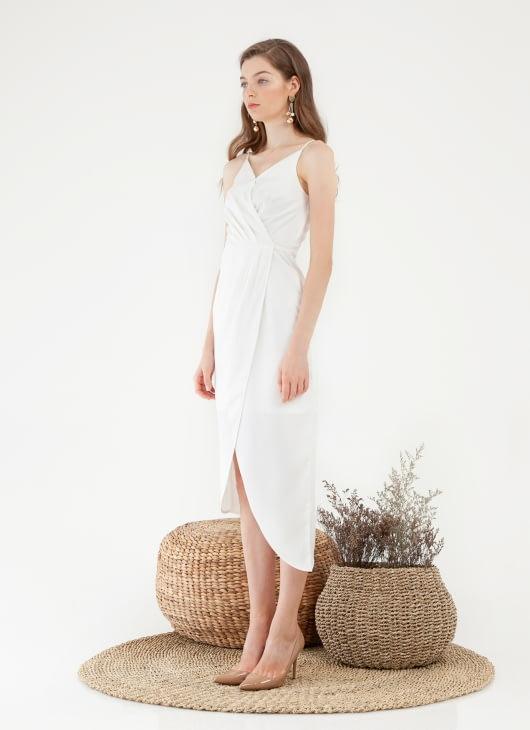 CLOTH INC Asymmetric Tulip Midi Dress - White