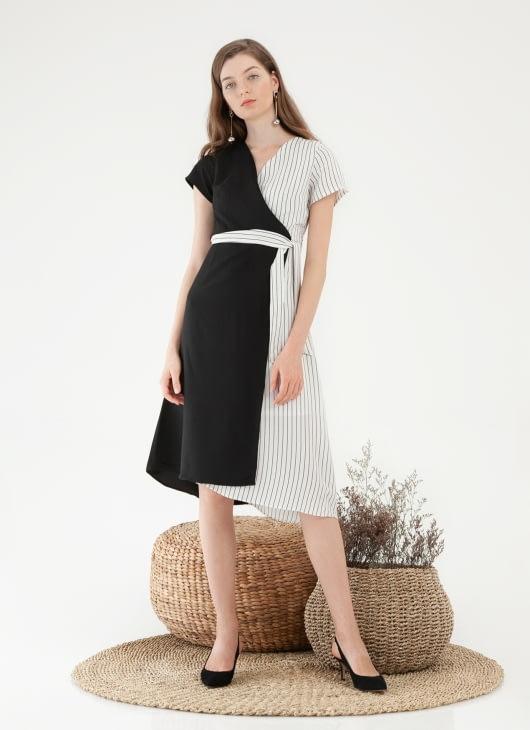 CLOTH INC Two Tone Mono Dress - Stripe