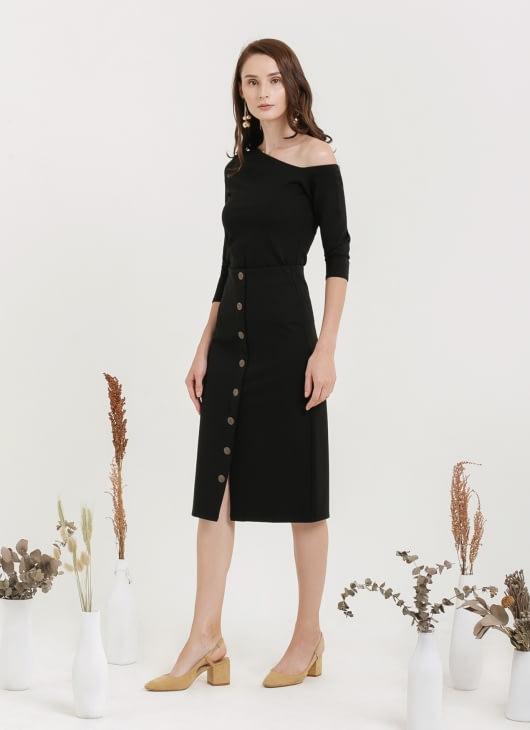 CLOTH INC Button Black Midi Skirt - Black