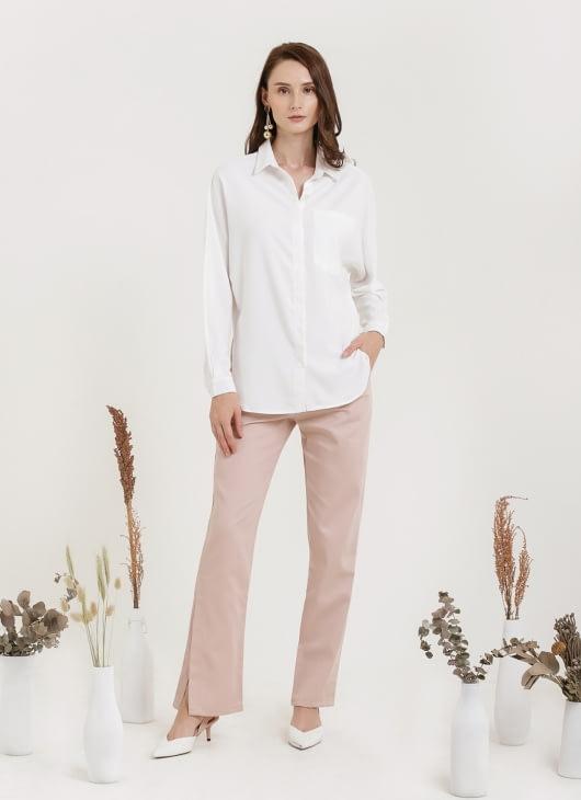 CLOTH INC Oversized Shirt with Pocket - White