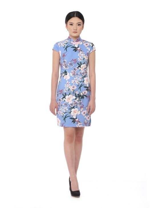 Mandarin Peony Cheongsam Azure Garden Dress - Blue