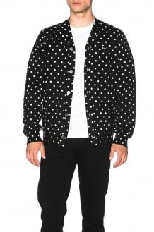 Comme Des Garcons PLAY Dot Print Wool Cardigan with Black Emblem