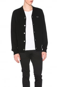 Comme Des Garcons PLAY Lambswool Cardigan with Black Emblem