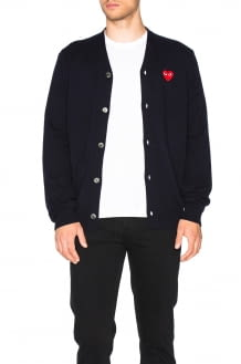 Comme Des Garcons PLAY Lambswool Cardigan with Red Emblem