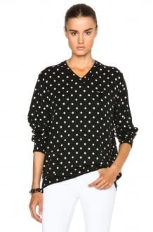Comme Des Garcons PLAY Wool Jersey Dot Print Black Emblem Sweater
