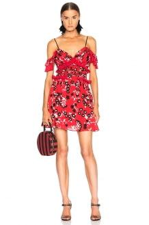 Self Portrait Cold Shoulder Floral Print Mini Dress