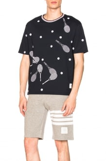 Thom Browne Jersey Cotton Racket Embroidered Tee