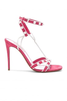 Valentino Free White Rockstud Ankle Strap Sandals