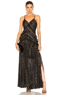 Self Portrait Metallic Polka Dot Maxi Dress
