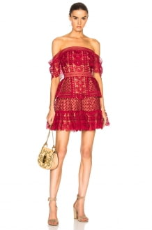 Self Portrait Off Shoulder Guipure Mini Dress