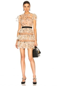 Self Portrait Star Mesh Tiered Dress