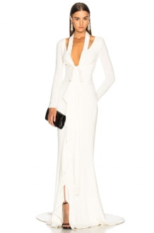 Oscar de la Renta Tie Front Cutout Gown