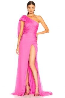Oscar de la Renta One Shoulder Ruched Gown