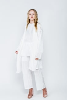 Shopatvelvet White Algae Long Cardigan