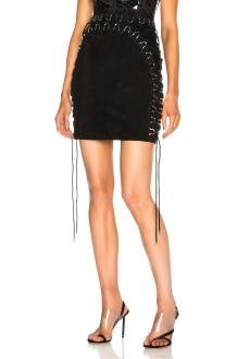 Mugler Suede Lace Up Detail Mini Skirt