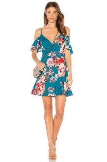 Band of Gypsies Large Floral Ruffle Hem Dress