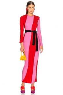 Attico Twisted Stripes Long Dress