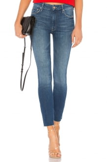 MOTHER High Waisted Looker Ankle Fray Jean