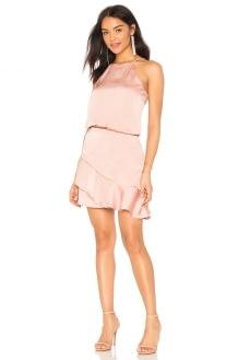 krisa Halter Ruffle Mini Dress