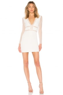 by the way. Lauri White Deep V Lace Bodycon