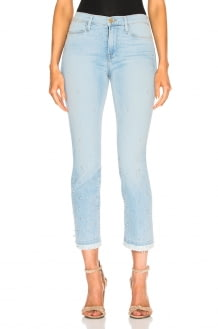 Frame Le High Straight Double Frayed Hem Pearl Jean
