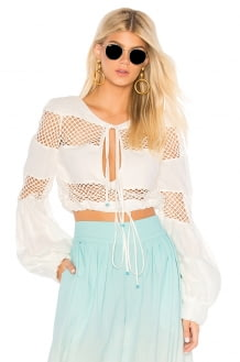 A Mere Co. Gustavia Lace Stripes Top