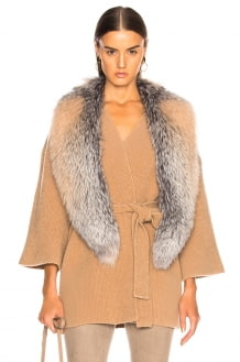 Sally Lapointe Cashmere Silk Boucle Wrap Cardigan with Fox Fur Stole