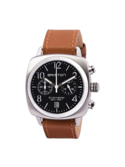 BRISTON Briston Clubmaster Classic Steel Chronograph Black Dial with Brown Leather Strap 40mm