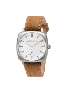 BRISTON Briston Clubmaster Vintage Brushed Steel Small Second White Dial 40mm